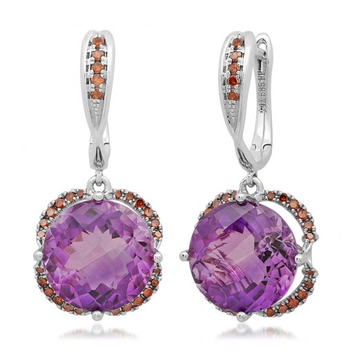 6.84CT  Round 14KW  Amethyst-6.58CT  Rcgd-0.26CT Earrings / ()
