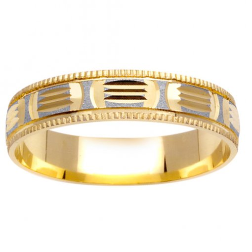 Two Tone Gold Carved and Textured Design Wedding Band 4mm