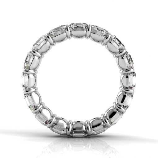 7.5 TCW Asscher Diamond Petite Prong Set Eternity Band in White Gold (G-H COLOR, SI1 CLARITY)