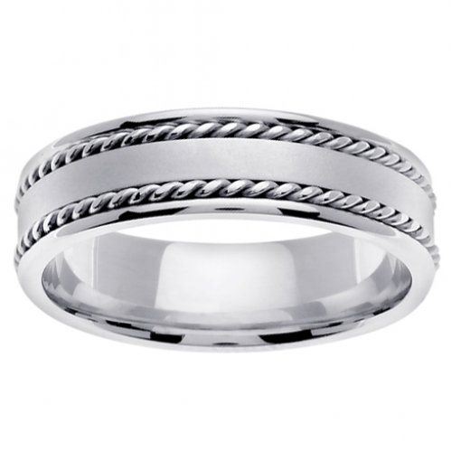White Gold Matte Flat Center Cord Inlay Wedding Ring 5mm
