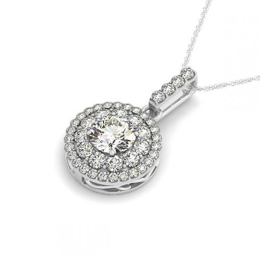Large & Small Diamond Double Halo Shared Prong Pendant (1.125 CTW)