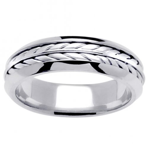 White Gold Flat Wheat Braid Wedding Band 4mm