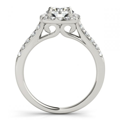 Rounded Square Halo Engagement Ring with Scroll Gallery in White Gold (0.6 CTW)