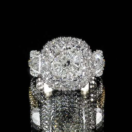 4.01ct GIA Cushion 18K Gold Half Moon Diamond Engagement Ring G/VS2