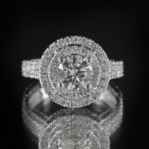 2.4ct GIA  18K White Gold Round Cut Diamond Engagement Ring F/VS1
