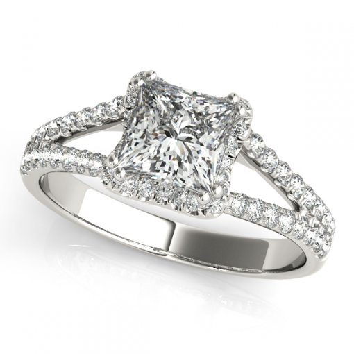 0.50ctw V Diamond Halo Split Shank Pave Engagement Ring