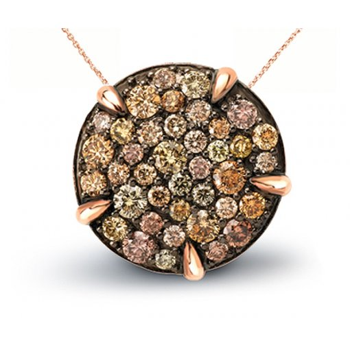 Multicolor Diamond Pendant in 14K Rose Gold (1.04 CTW)