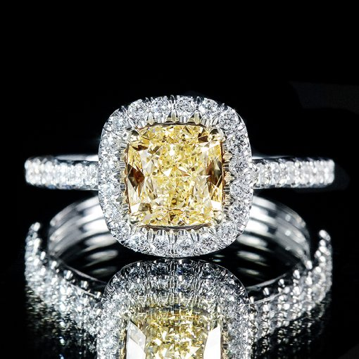 2.04ct GIA Cushion 18K White Gold Halo Engagement Ring Fancy Yellow/VS2 (5161373880)