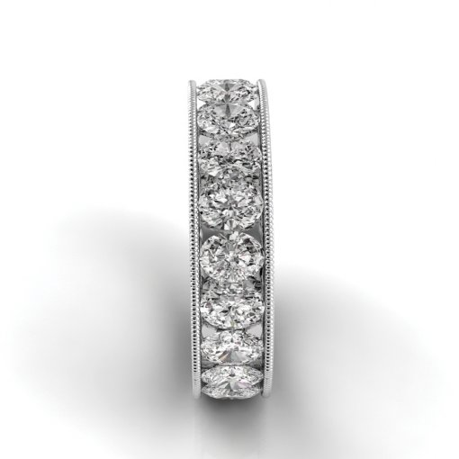 8 TCW Oval Diamond Channel Set Eternity Band in White Gold (F-G COLOR, VS2 CLARITY)