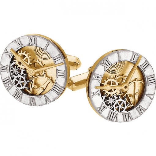 14K Two-Tone Clock Design Cuff Links
