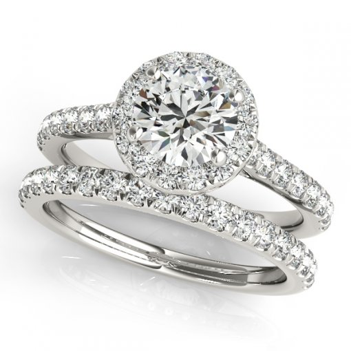 U Pave Halo Round Diamond Engagement Ring in White Gold (0.33 CTW)
