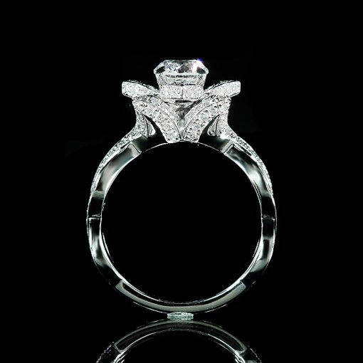 1.49ct EGL Round 14K White Gold Flower Engagement Ring E/SI1 (US912897801D)