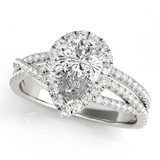 0.45ctw Pear Shape Pave Diamond Halo Twist Split Shank Engagement Ring