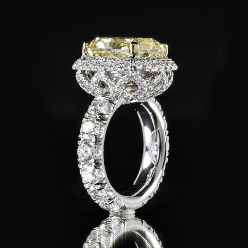 6.57ct GIA Radiant 18K Pave Flower Halo Engagement Ring Fancy/VS1