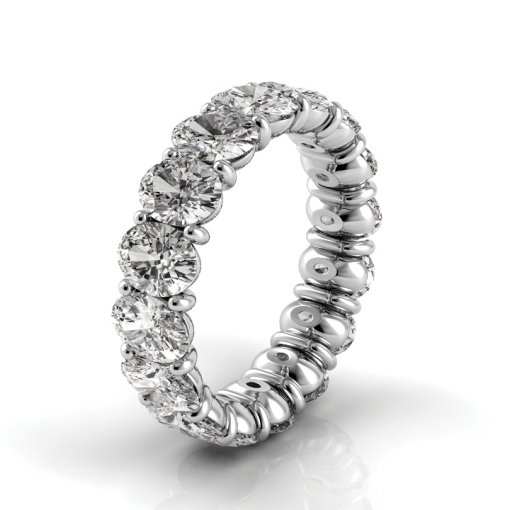 2.5 TCW Oval Diamond Petite Prong Set Eternity Band in White Gold (G-H COLOR, VS2-SI1 CLARITY)