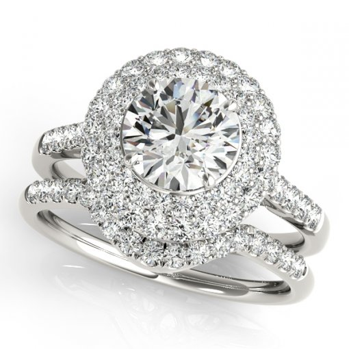 Double Pave Diamond Halo Engagement Ring in White Gold (0.6 CTW)