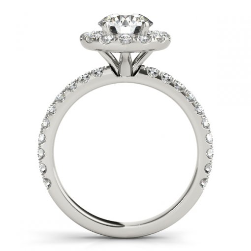 U Pave Set Classic Engagemetn Ring in White Gold (0.6 CTW)
