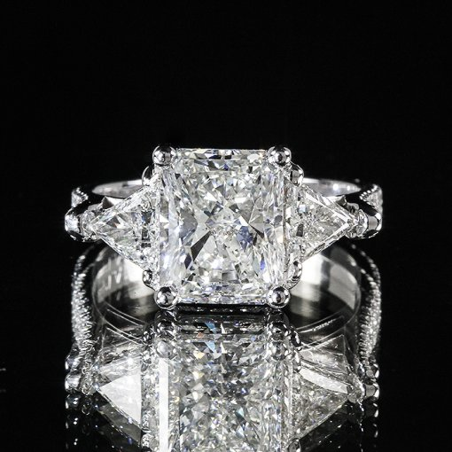 4.64ct GIA Radiant Trillion 3 Stone 18k Gold Pave Engagement Ring  F/SI1