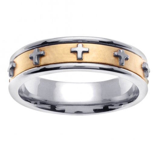 Two Tone Gold Cross Wedding Band 4mm