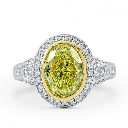 3.41ct GIA Oval 18K White Gold Halo Engagement Ring Fancy Yellow/VS1 (1132248383)