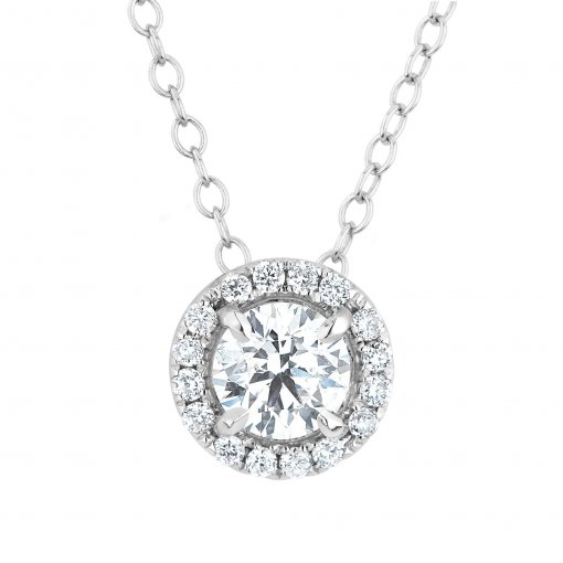 0.40CTW Round 14k White Gold Halo Diamond Pendant