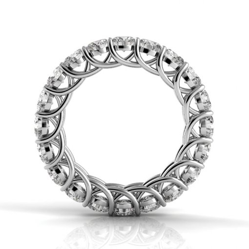 4.5 TCW Round Diamond Trellis Set Eternity Band in White Gold (F-G COLOR, VS2 CLARITY)
