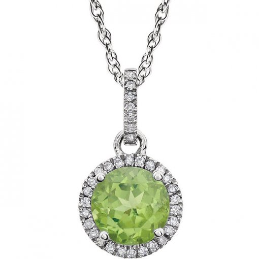 0.1ct Round 14kt White Peridot  Diamond Pendant