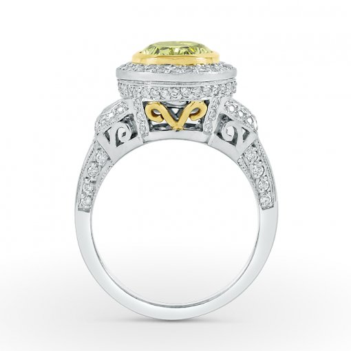 2.85ct GIA Oval 18K White Gold Halo Engagement Ring Fancy Intense Yellow/VS1 (2161761950)