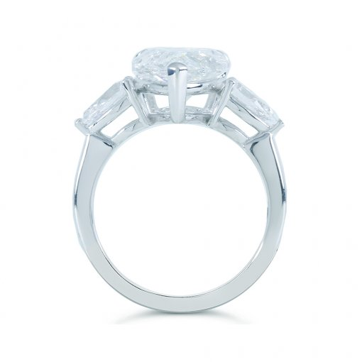5.88ct GIA Pear 18K White Gold 3-Stone Engagement Ring F/VS2 (2141962901)