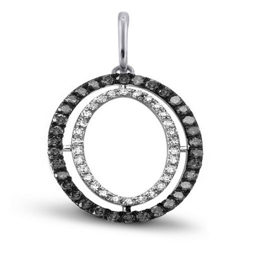 White & Black Diamond Cocentric Circle Pendant. (1.11 CTW)