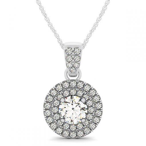 U Pave Set Double Halo Diamond Pendant CTW 0.54