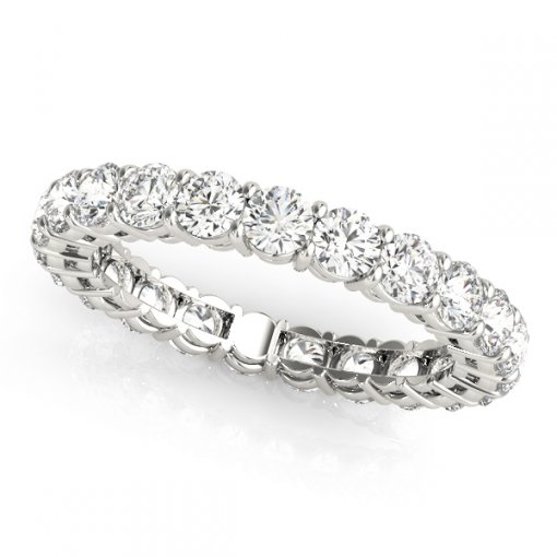 3.0 TCW Round Diamond Open Gallery Shared Prong Set Eternity Band in Platinum (G-H COLOR, VS2-SI1 CLARITY)