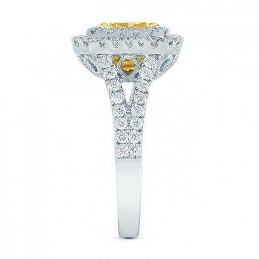 2.33ctw Fancy Yellow Radiant Cut Diamond Engagement Ring VVS2 EGL USA