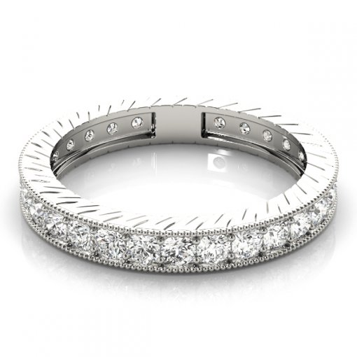 1.5 TCW Round Diamond Vintage Channel Set Eternity Band in Platinum (G-H COLOR, VS2-SI1 CLARITY)