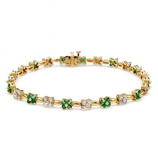 2.80ctw Women's emerald and diamond bracelet in 14k yellow gold
