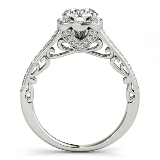 Vintage Milgrain Square Halo Scroll Engagement Ring in White Gold (0.35 CTW)