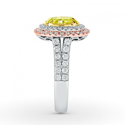 2.84ct GIA Oval 18K White Gold Double Halo Engagement Ring Fancy Yellow/SI1 (2175233753)