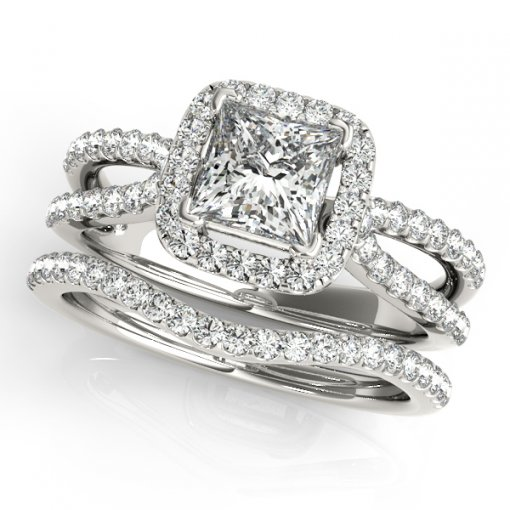 0.45ct Split Shank U Pave Diamond Halo Engagement Ring