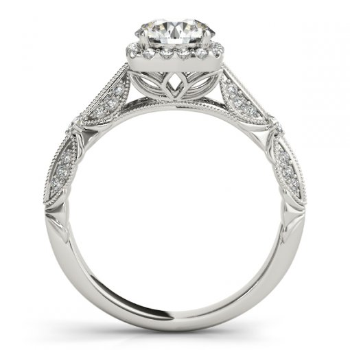Vintage Style Milgrain Halo Engagement Ring in White Gold (0.35 CTW)