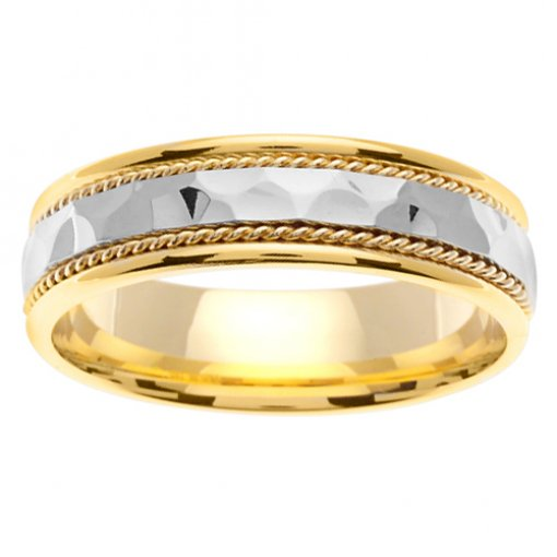 Two Tone Gold Large Hammer Finish Cord Inlay Wedding Band 5mm