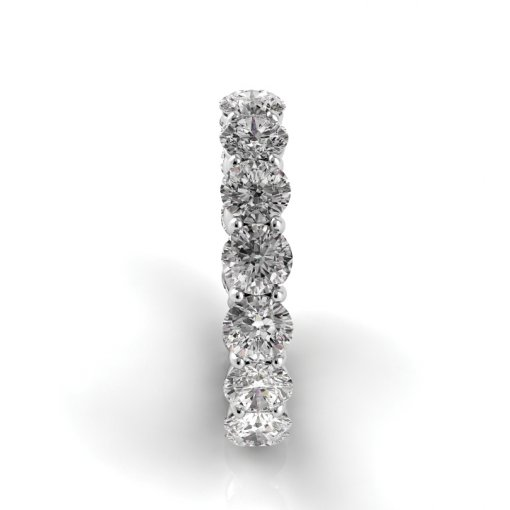 3.0 TCW Round Diamond Petite Prong Set Eternity Band in Platinum (F-G COLOR, VS2 CLARITY)