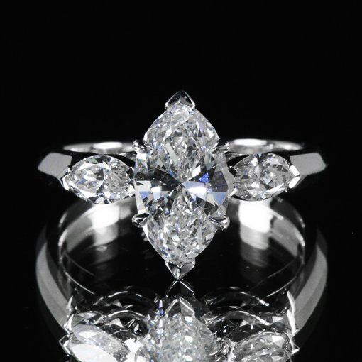 3.33ct GIA Marquise Three Stone 18K White Gold Engagement Ring G/VS