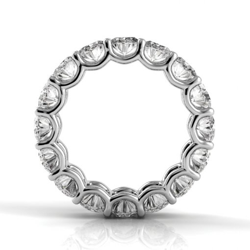 6.5 TCW Oval Diamond U-Prong Set Eternity Band in Platinum (F-G COLOR, VS2 CLARITY)
