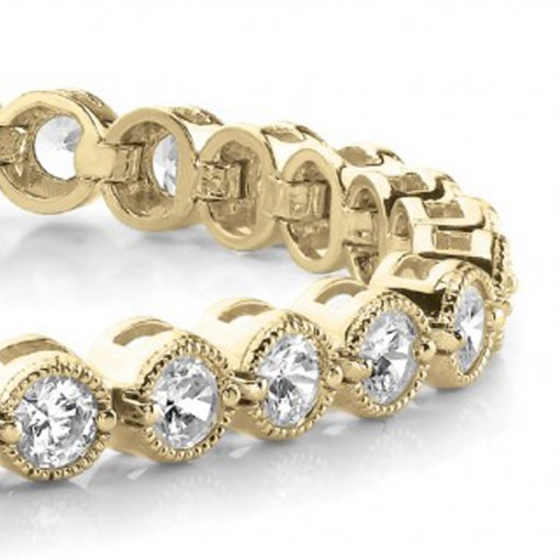 1.00 CT Tennis Bracelet with Prong Set Round Diamonds in 14K Yellow Gold (G-H VS2)