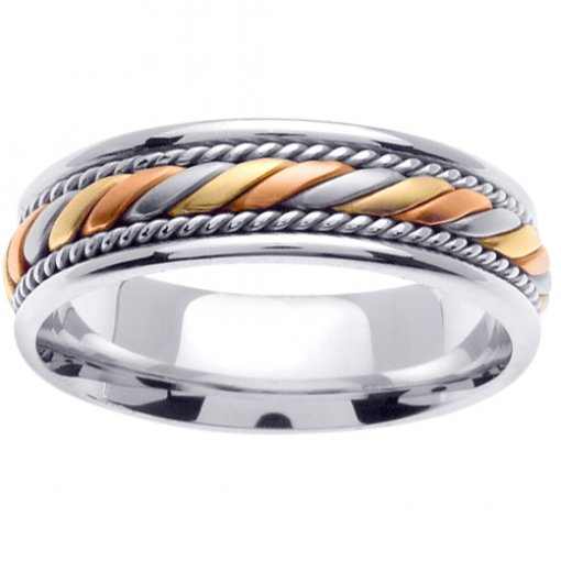 14K Tri Color White Yellow Rose Gold Hand Braided Crafted