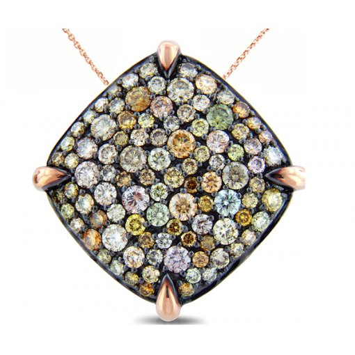 Multicolor Diamond Pendant in 14K White Gold (2.46 CTW)