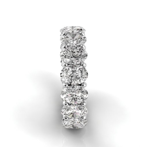 8.0 TCW Oval Diamond Petite Prong Set Eternity Band in Platinum (G-H COLOR, VS2-SI1 CLARITY)