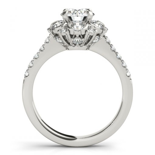 Vintage Style Floral Motif Round Halo Engagement Ring in White Gold (0.95 CTW)