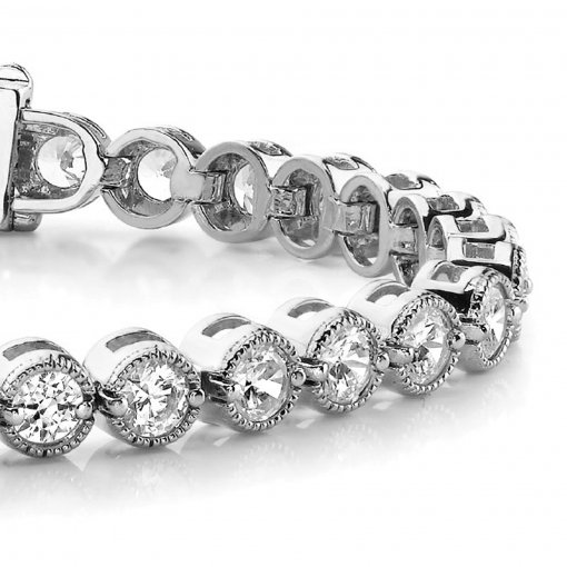 4.50 CT Tennis Bracelet with Prong Set Round Diamonds in 14K White Gold (G-H VS2)