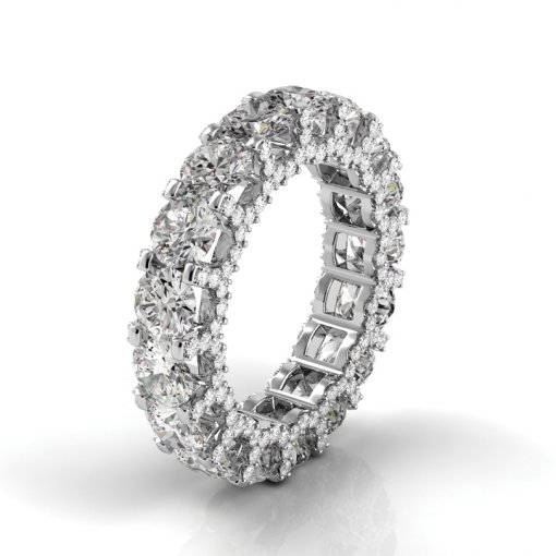 7.5 TCW Round Diamond U-Shape Pave Set Eternity Band in White Gold (F-G COLOR, VS2 CLARITY)